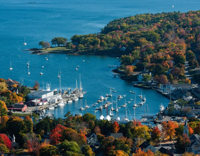 Aerial view of the Camden, Maine, harbor.