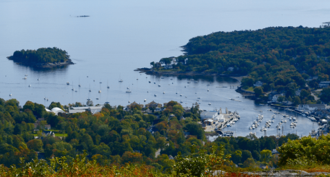 Aerial view of Camden Harbor in the fall.
